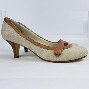 Steve Madden Shoes - Steve Madden Vyceroy Linen Tan Kitten Heel